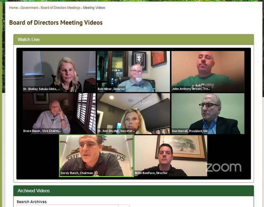 The use of 'Zoom' video conference technology for the various meetings hosted by The Woodlands has been mostly successful, but not without technical hiccups. The seven Board of Directors members are all shown on their own mini-screens within the township's video landing page. Six directors view and participate from their homes while boaerd Chairman Gordy Bunch broadcasts from the township offices. In order to maintain the meeting's internet feed and for security from possible 'Zoom bombers' — malicious trolls who interrupt the online feeds — two expert IT staff are always on hand in the township offices with Bunch to ensure all goes smoothly. Photo: Courtesy Image / Courtesy Image