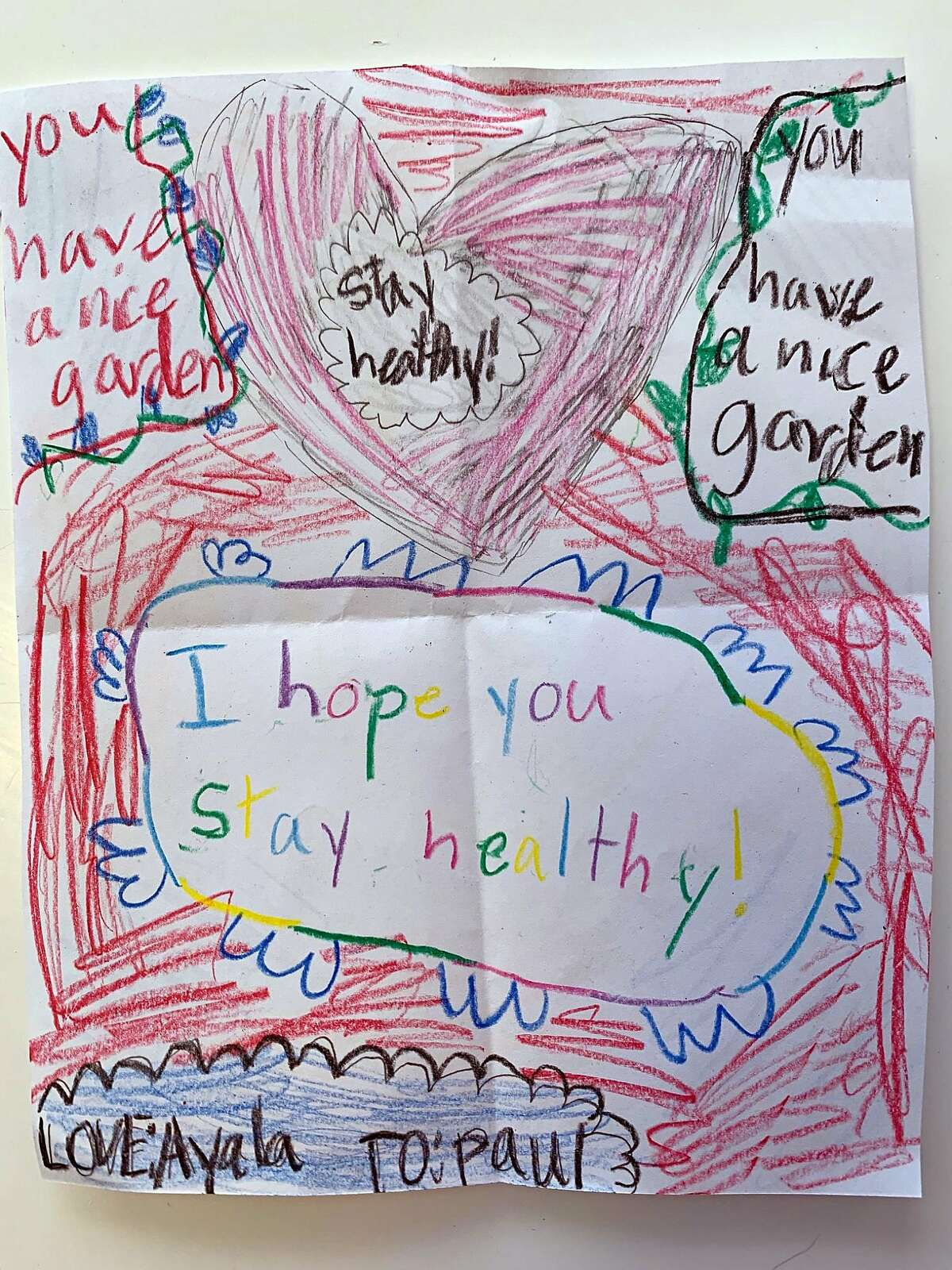 Get-well drawing received by Paul Preston of Berkeley, who is 69 and under self-quarantine, from his 8-year-old neighbor, Ayala.