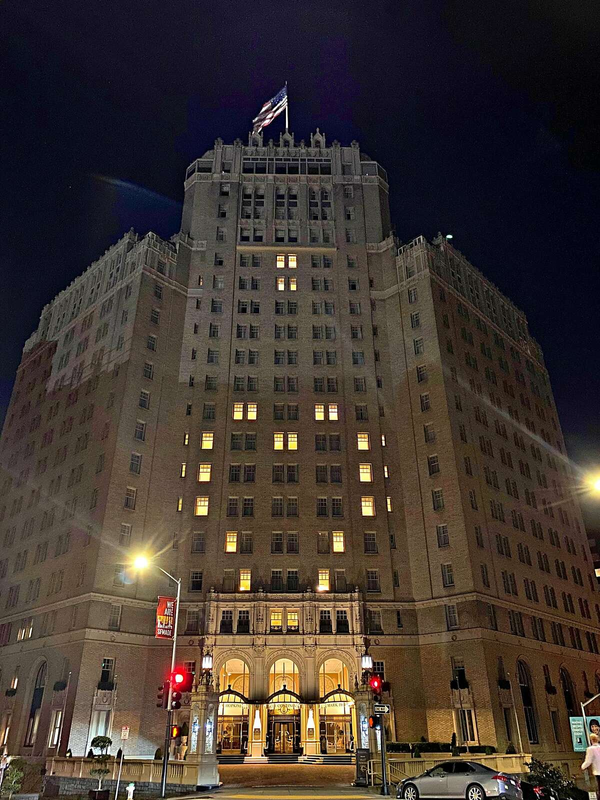 The Mark Hopkins hotel in San Francisco is using its lights to display a heart over Nob Hill.