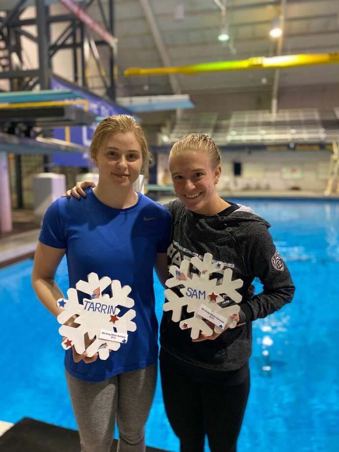 COM Aquatics divers Tarrin Gilliland, left, and Samantha Pickens pose for a photo. Both divers are hopefuls for the postponed 2020 Summer Olympics in Tokyo that will now take place in 2021. Photo: Courtesy Photo