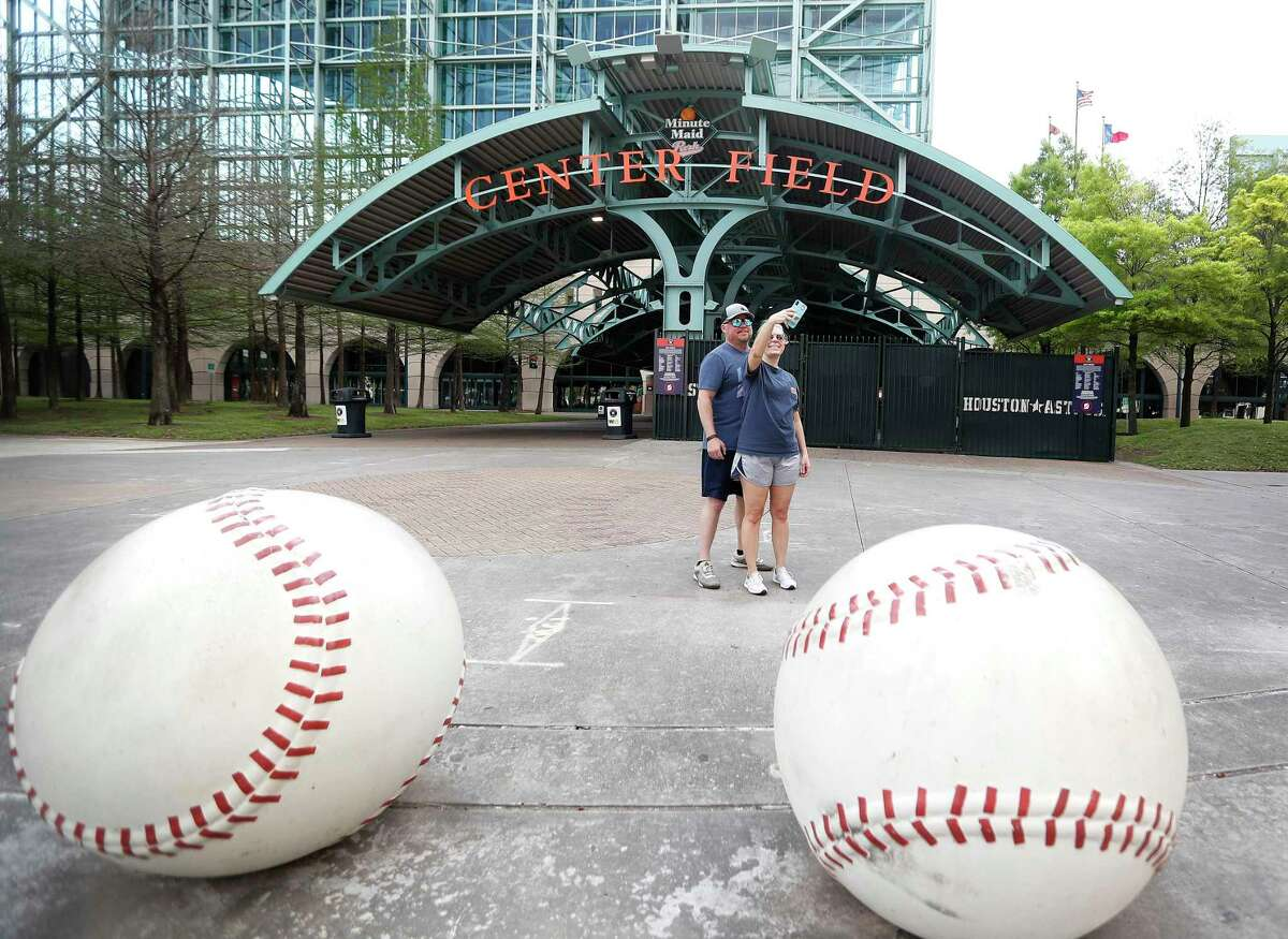 Erika Allgood and Brent Costlow take a selfie at Minute Maid Park on March 26, which would have been opening day.