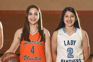 United's Evelyn Quiroz and United South's Angelina Lopez are both candidates for the VYPE South TX Girls Public School Basketball Player of the Year award.