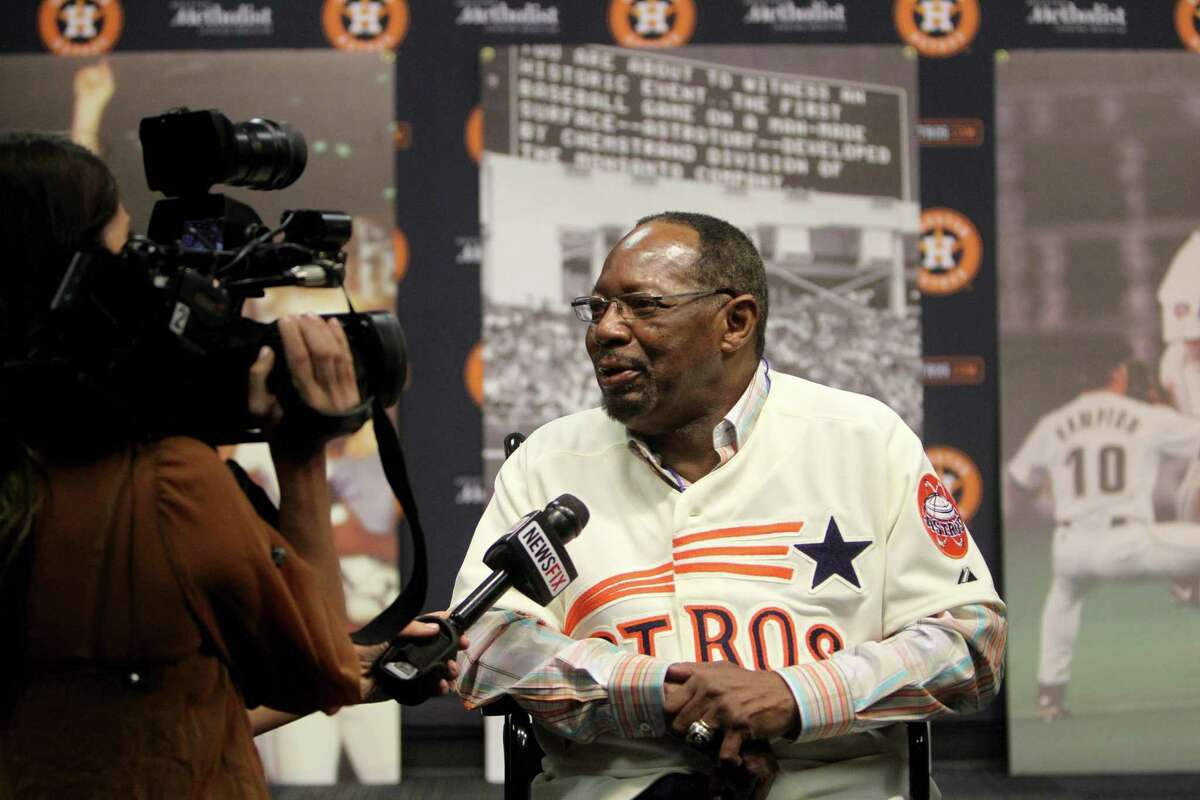 Jimmy Wynn, is interviewed at a press conference introducing six members from the first 1965 Astros team, which originated 50 years ago in coalition with the opening of the new Astrodome, as part of the Astros 50th Anniversary Weekend at Minute Maid Park in 2015.