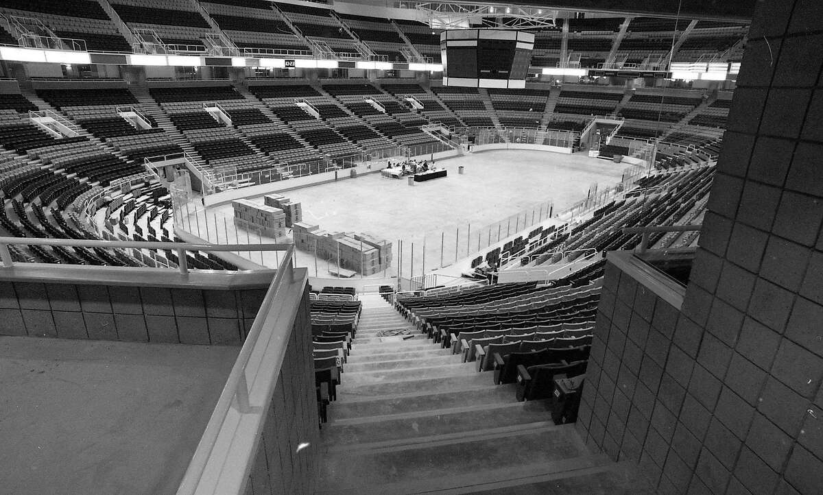 Exterior of the San Jose Arena, also known as the Shark Tank under construction, though nearly completed, August 31, 1993