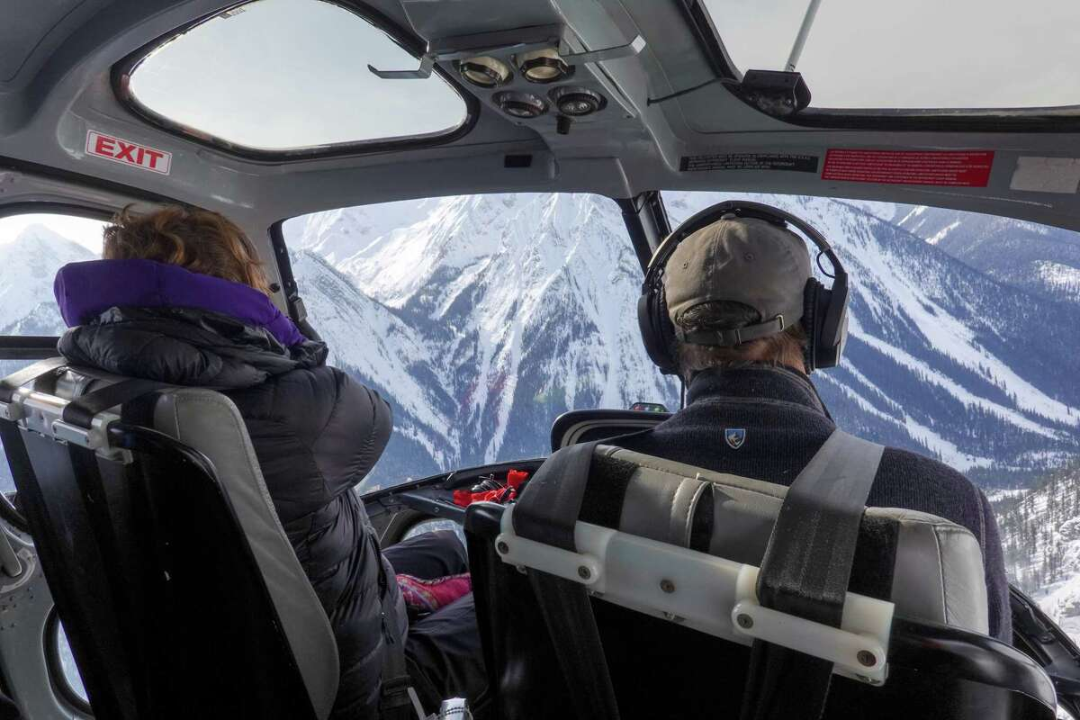 The only way to get to and from the Icefall Lodge in British Columbia in the winter is by helicopter. Guests are flown in and dropped off and do not see the helicopter or have contact with the outside world for one week. .