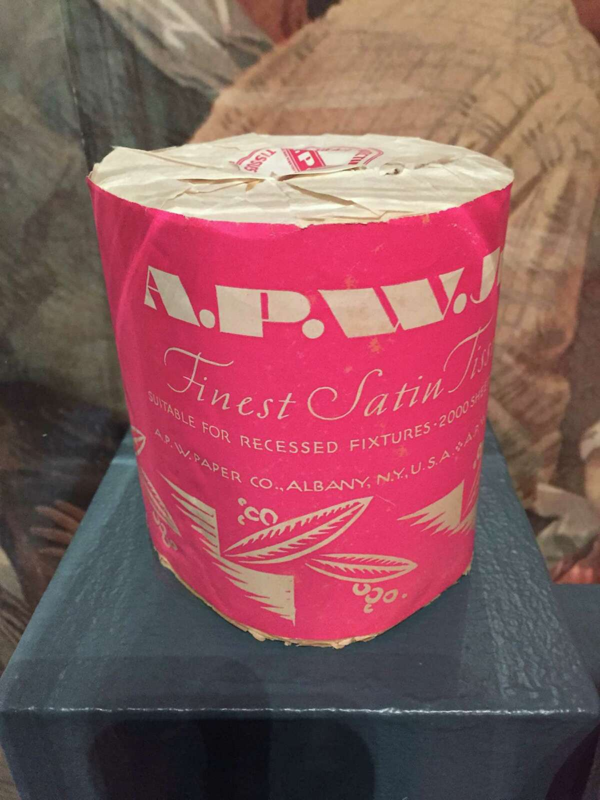 America's first toilet paper was patented in 1871 by Seth Wheeler of Albany. His A.P.W. (Albany Perforated Wrapping Company) toilet paper was marketed as cheap, neat and hygienic. This roll was made in 1935 at the Albany Isntitute of History & Art's