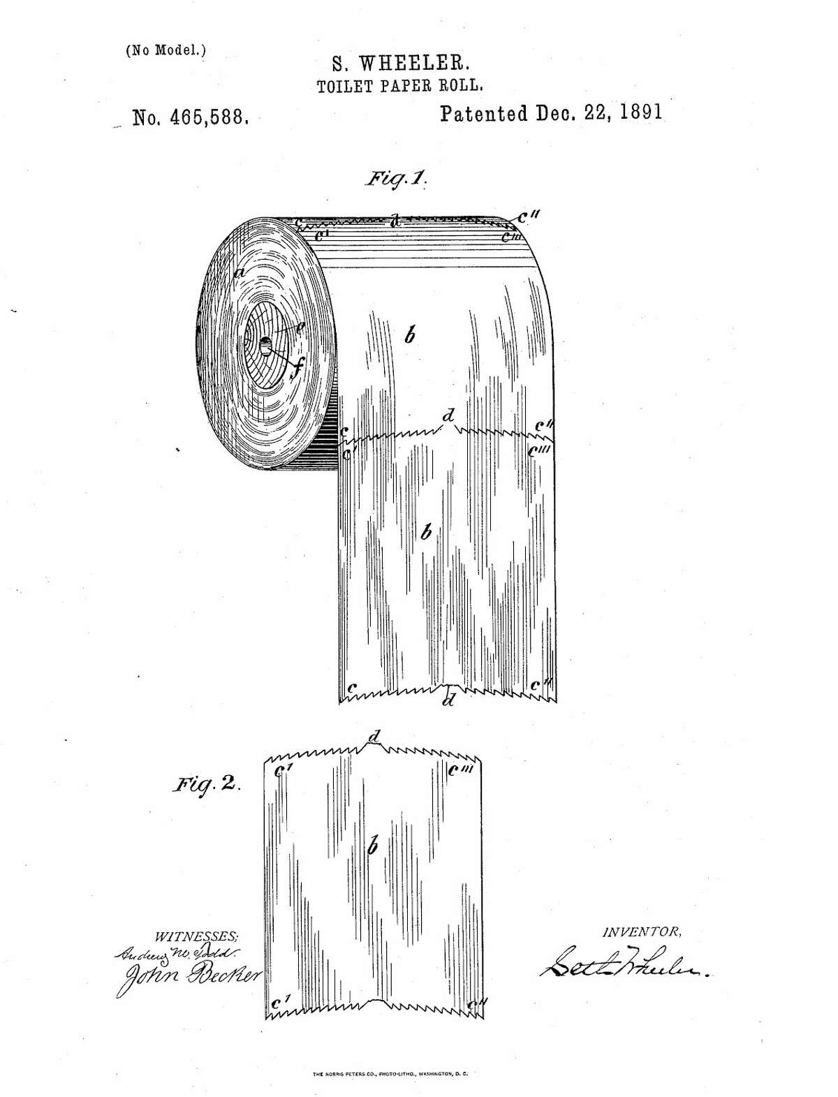 Seth Wheeler toilet paper patent drawing from 1891. (U.S. Patent Office)
