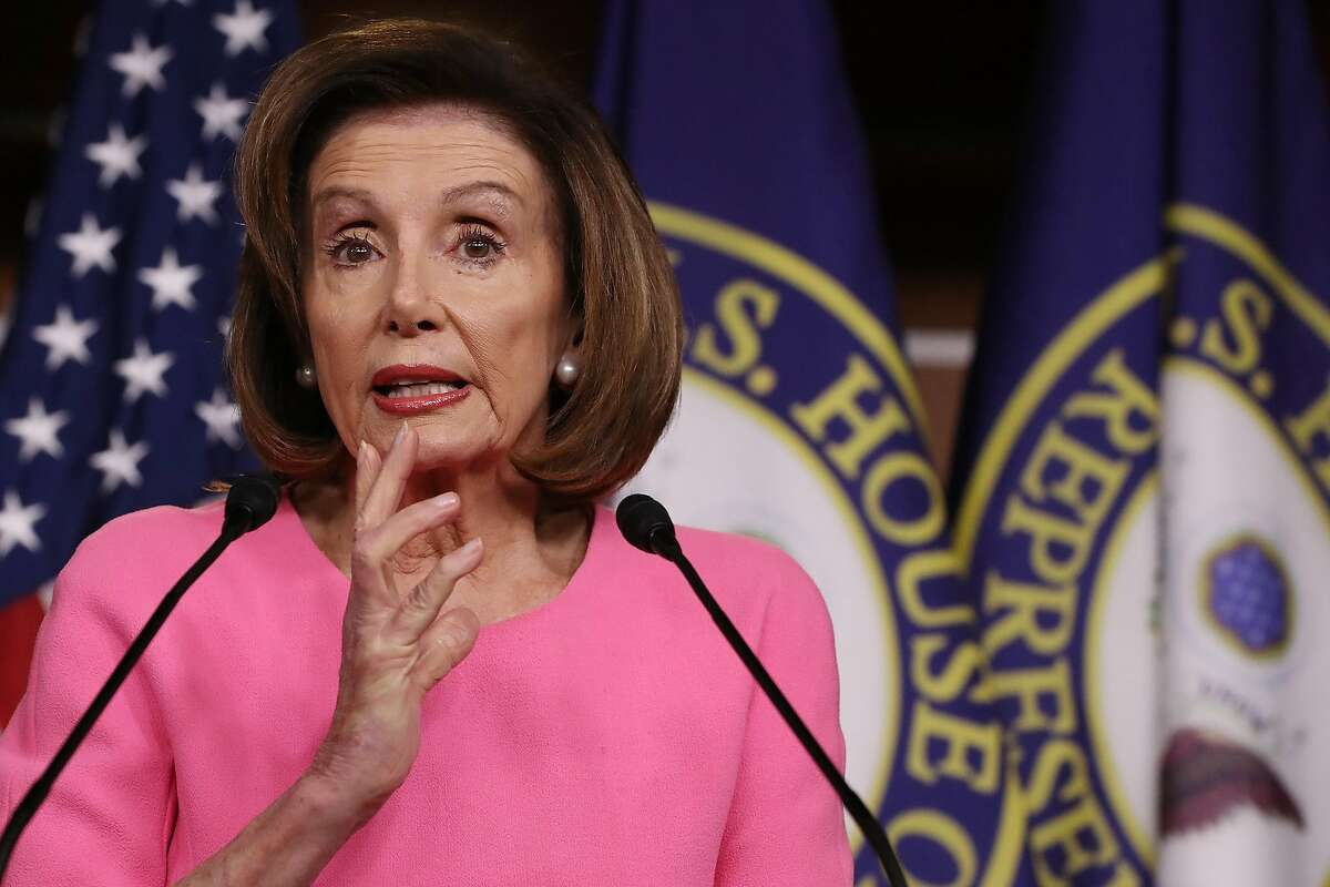 WASHINGTON, DC - MARCH 26: U.S. House Speaker Nancy Pelosi (D-Calif.) talks to reporters at a news conference about legislation addressing the ongoing coronavirus outbreak on Thursday, March 26, 2020 in Washington, D.C. As people filed a record 3.2 million unemployment claims, Pelosi said she anticipated a strong, bipartisan vote for a $2.2 trillion stimulus bill that lawmakers hope will shore up the economy in the face of the COVID-19 pandemic. (Chip Somodevilla/Getty Images/TNS)