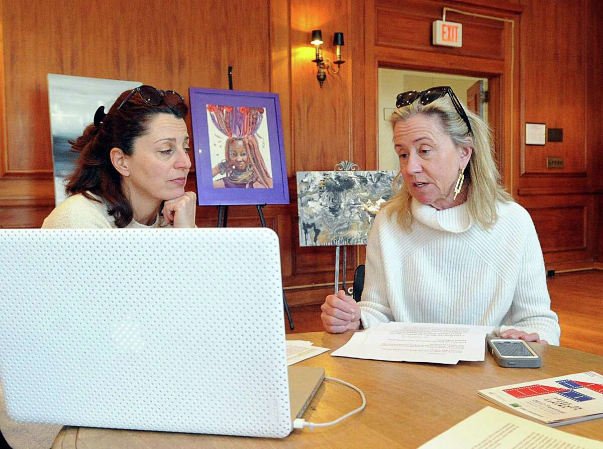 Left to right, Sylvie Sergent, Renee Amory Ketcham, members of the Alliance Francaise of Greenwich Focus on French Cinema Committee, discuss their upcoming French Cinema event during a meeting at the Alliance Francaise of Greenwich , Conn., Wednesday, Feb. 28, 2018. Renee Amory Ketcham is the President of the Alliance Francaise of Greenwich and the chair of the Focus on French Cinema event.