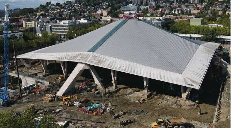 Construction under way on Seattle Center arena on March 26, 2020. Photo: Courtesy Of KOMO News