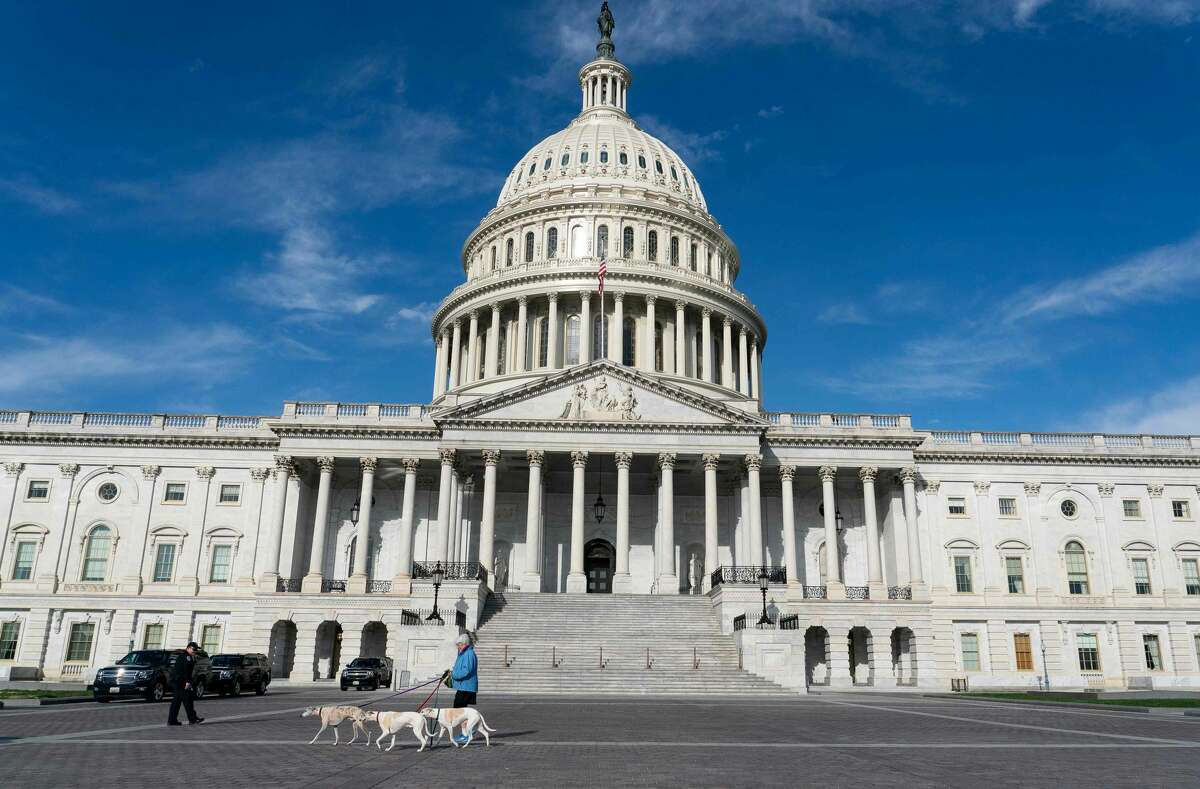 A woman walks her dogs near the US Capitol Building on March 27, 2020, in Washington, DC. - The US House of Representatives is expected to vote on a COVID-19 stimulus bill which was passed by the Senate earlier in the week. (Photo by Alex Edelman / AFP) (Photo by ALEX EDELMAN/AFP via Getty Images)