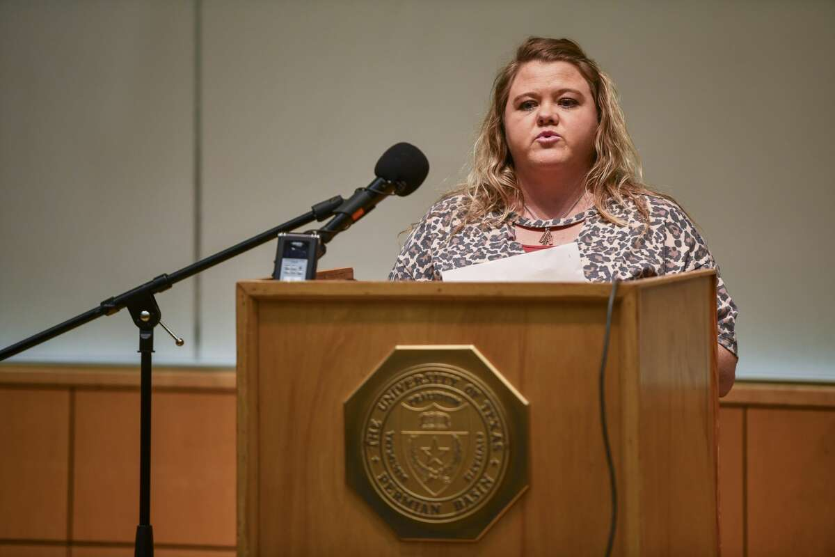 Ector County Health Department director Brandy Garcia talks during a press conference on Tuesday, March 24, 2020 at the University of Texas Permian Basin library.