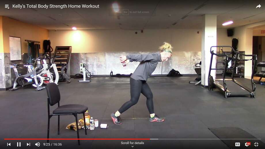 """New Canaan YMCA staff member Kelly Ratner leads a virtual """"Total Body Strength Home Workout."""" as part of the New Canaan Y's """"Y@Home"""" initiative. It has established the initiative because of the spread of the COVID-19 disease. Photo: Contributed Photo"""