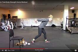 """New Canaan YMCA staff member Kelly Ratner leads a virtual """"Total Body Strength Home Workout."""" as part of the New Canaan Y's """"Y@Home"""" initiative. It has established the initiative because of the spread of the COVID-19 disease."""