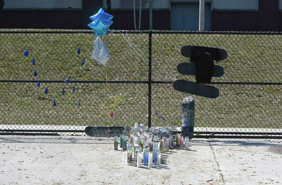 A memorial at the Danbury City Center Skate Park following the death of 21-year-old Willy Placencia. Photo: H John Voorhees III / Hearst Connecticut Media / The News-Times