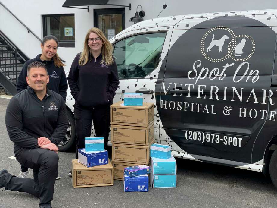 Spot On Veterinary Hospital & Hotel, at 184 Selleck St., in Stamford, Conn., has lauched a drive to collect personal protective equipment for local human hospitals. Photo: Contributed Photo