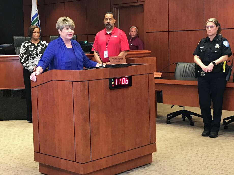 Beaumont Mayor Becky Ames speaks at a news conference Friday, March 27, 2020. Photo: Kim Brent/The Enterprise