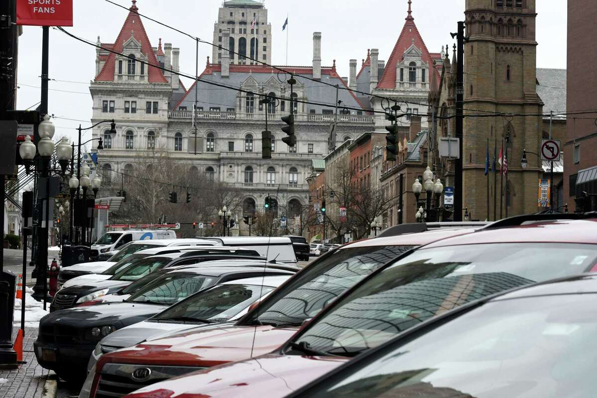 Parking spaces on State Street below the Capitol are still a scarce commodity on Wednesday, March 25, 2020, in Albany, N.Y. The city suspended metered parking on March 20th. (Will Waldron/Times Union)