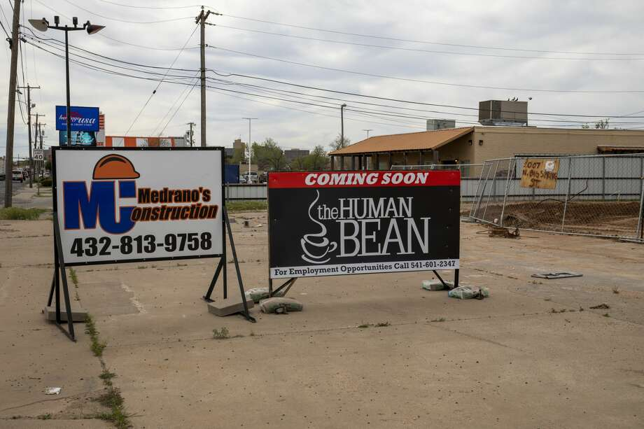 Signage for The Human Bean as seen on Friday, March 27, 2020 at 2007 North Big Spring Street. The lot has been cleared and construction has yet to begin. Photo: Jacy Lewis/Reporter-Telegram