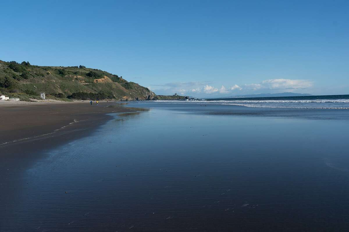 The beach had only a small number of people on Thursday, March 26, 2020, in Stinson Beach, Calif.