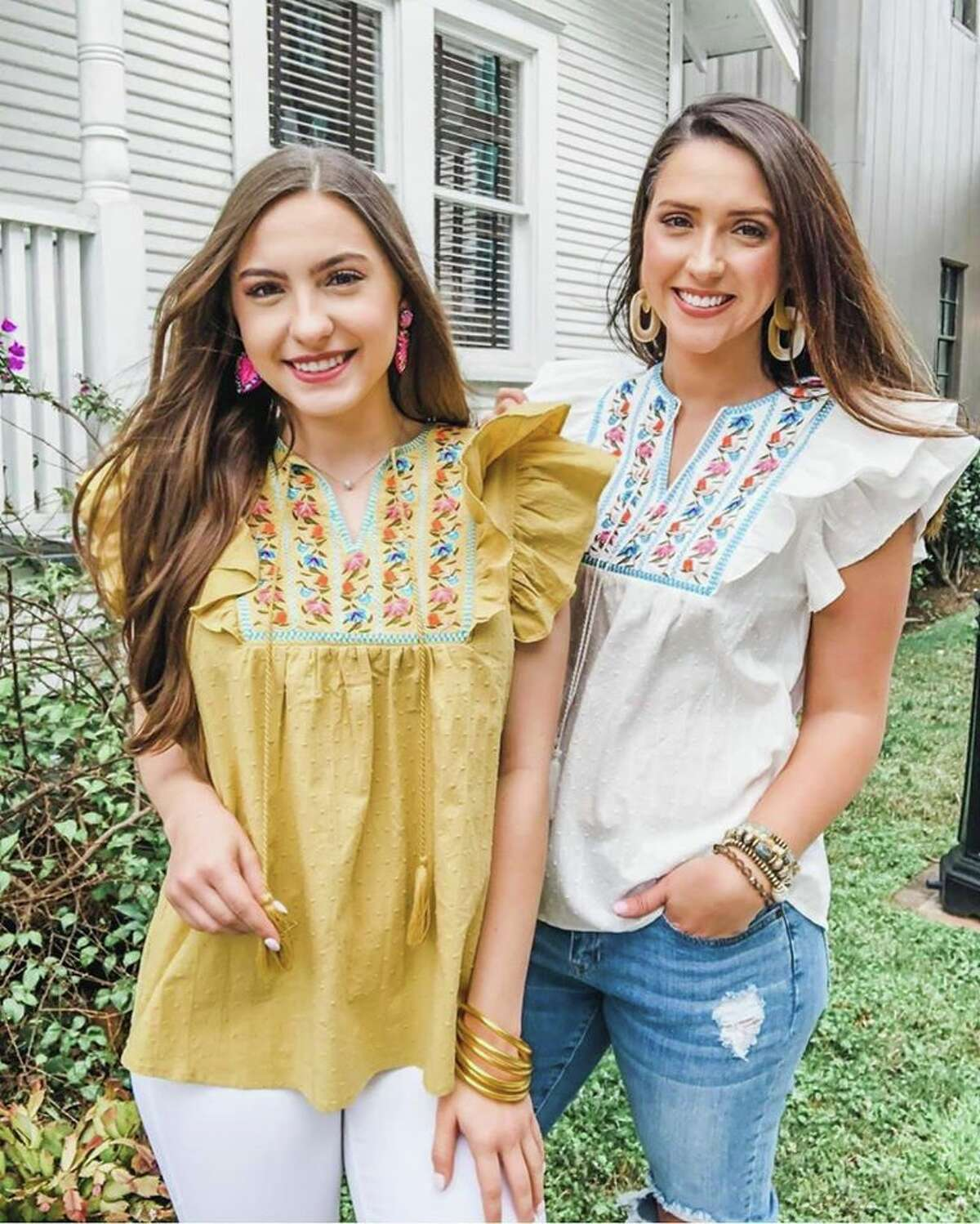 Pomp and Circumstance Boutique Always There Embroidered Tops-$52 S-L in mustard and white