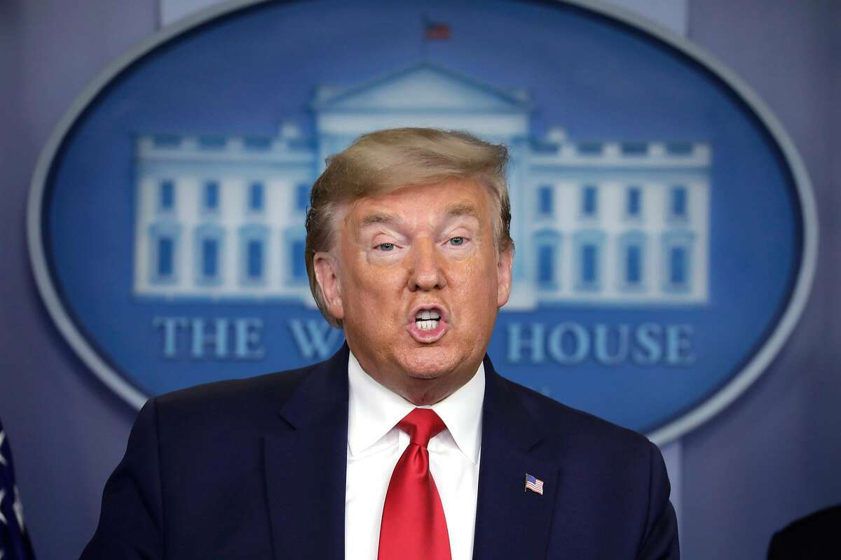 U.S. President Donald Trump speaks during a press briefing on the coronavirus COVID-19 pandemic with members of the Coronavirus Task Force on Thursday, March 26, 2020 at the White House in Washington, D.C. (Yuri Gripas/Abaca Press/TNS)