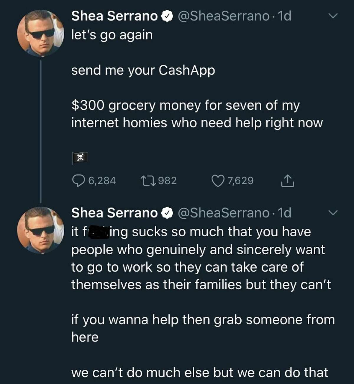 Best-selling author Shea Serrano posted another one of his famous giveaways to help his followers in need (last week even former-President Barrack Obama praised Serrano's efforts).