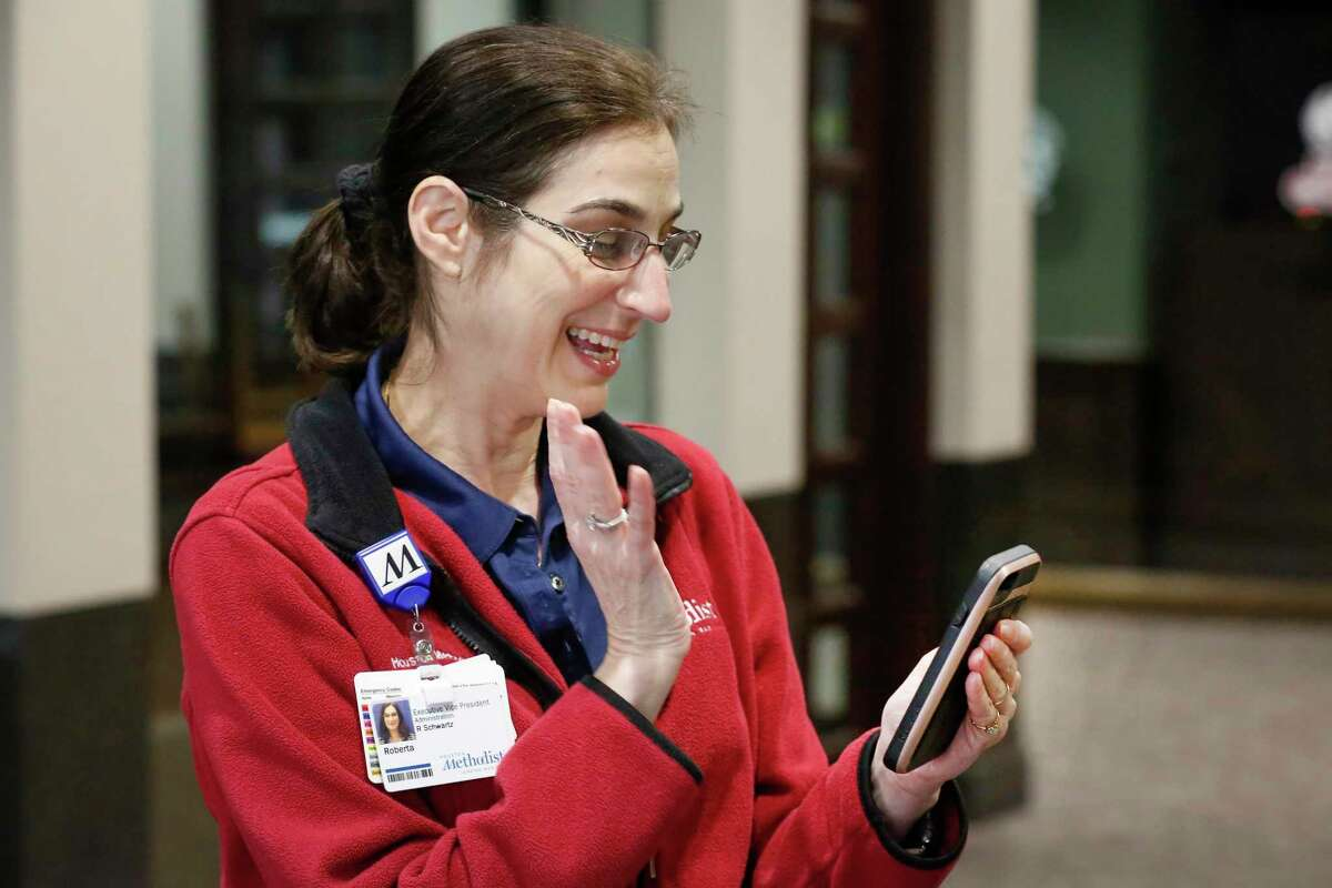 Houston Methodist Hospital Executive Vice President Roberta Schwartz conducts her virtual rounds Wednesday, March 25, 2020, in Houston.