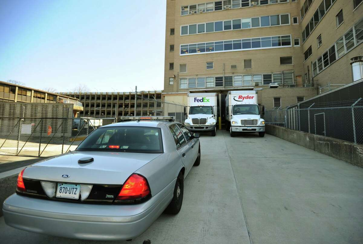 The medical supplies arrive with a state police escort at Bridgeport Hospital in Bridgeport, Conn. on Thursday, April 24, 2014.