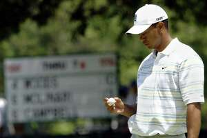 Tiger Woods of the U.S. after a bogey on the 8th hole during the second round of the US Open Championship 16 June 2006 at Winged Foot Golf Club in Mamaroneck, NY. Woods shot 76 to finish the two rounds at 12 over par.   AFP PHOTO/Stan HONDA