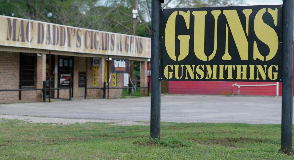 Allen Perry's business, Mac Daddy's Cigars and Guns, is seen, Wednesday, March 18, 2020, in Conroe.