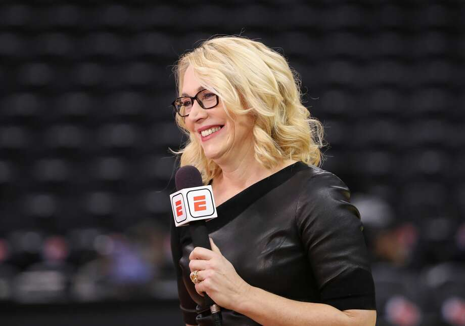 ESPN television analyst Doris Burke does a TV spot as she sets up the Toronto Raptors NBA game against the Philadelphia 76ers at Scotiabank Arena on Dec. 5, 2018 in Toronto, Canada. Photo: Tom Szczerbowski/Getty Images / 2018 Tom Szczerbowski