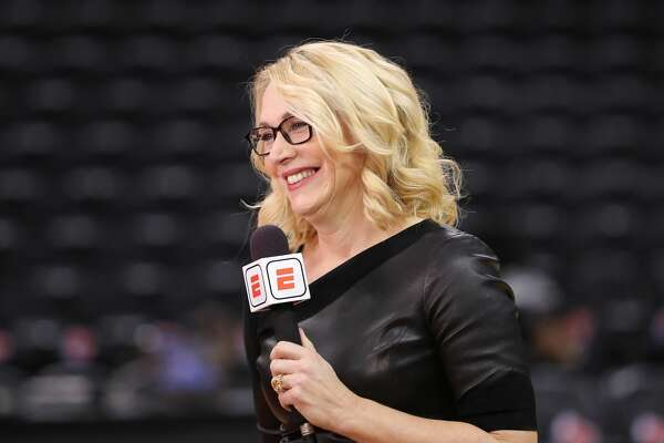TORONTO, ON - DECEMBER 05: ESPN television analyst Doris Burke does a TV spot as she sets up the Toronto Raptors NBA game against the Philadelphia 76ers at Scotiabank Arena on December 5, 2018 in Toronto, Canada. (Photo by Tom Szczerbowski/Getty Images)