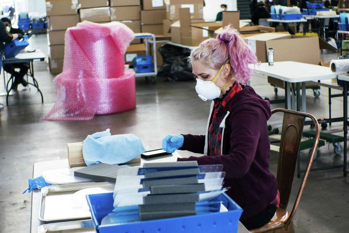 People make face shields at the Brooklyn Navy Yard where local industrial firms have begun manufacturing Personal Protective Equipment in New York City.