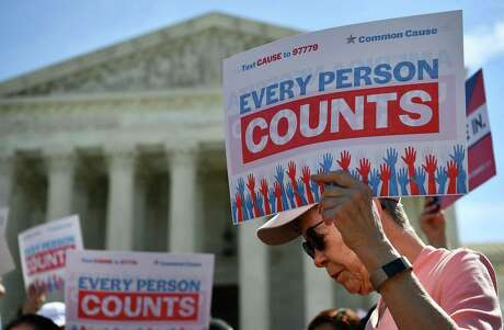 Every person counts in the U.S. census, but if not everyone is counted Texas will suffer in representation and lose out on federal funding. Here, demonstrators rally outside the U.S. Supreme Court in 2019 over a proposed citizenship question — it was not added.