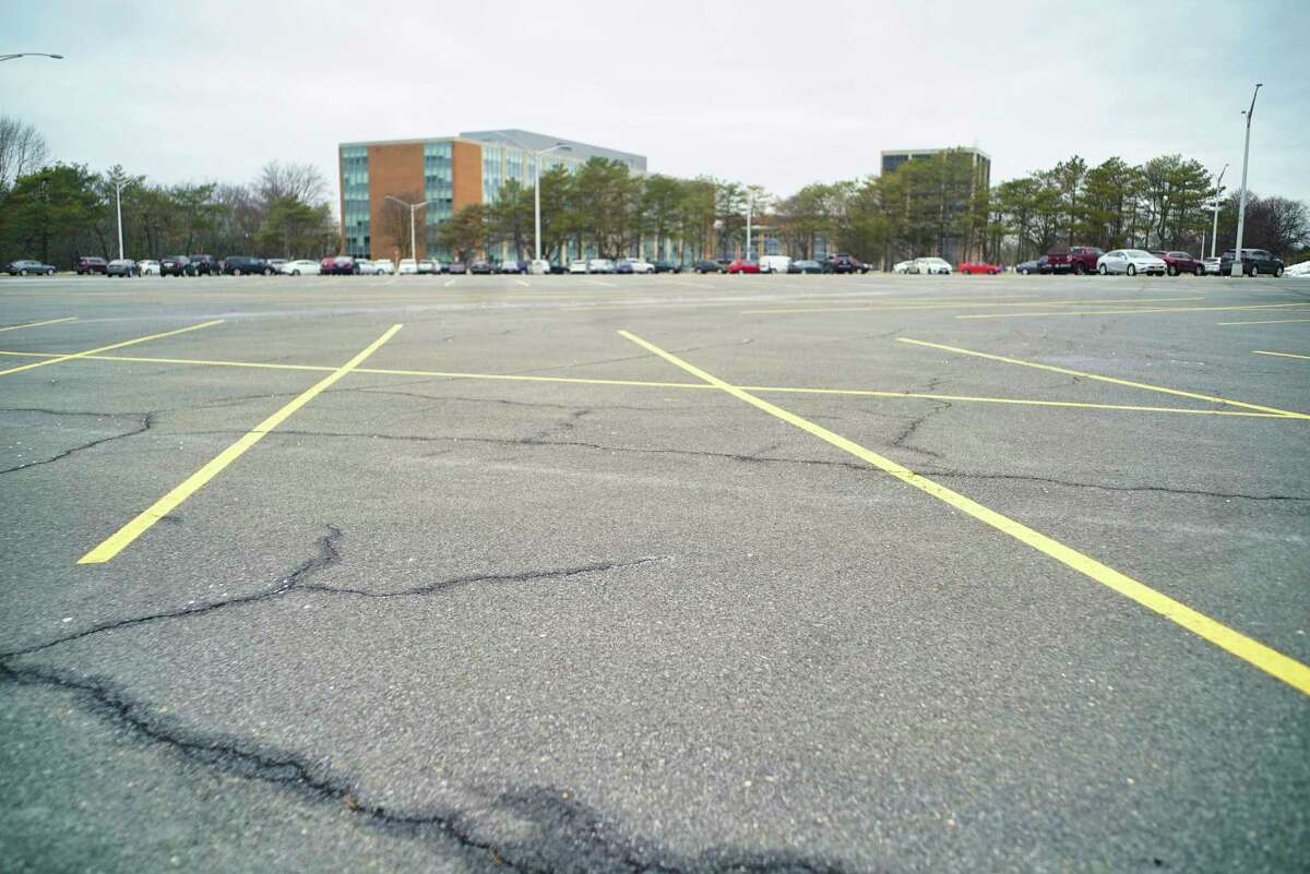 A view of a section of an empty parking lot at the Harriman Campus on Wednesday, March 25, 2020, in Albany, N.Y. (Paul Buckowski/Times Union)