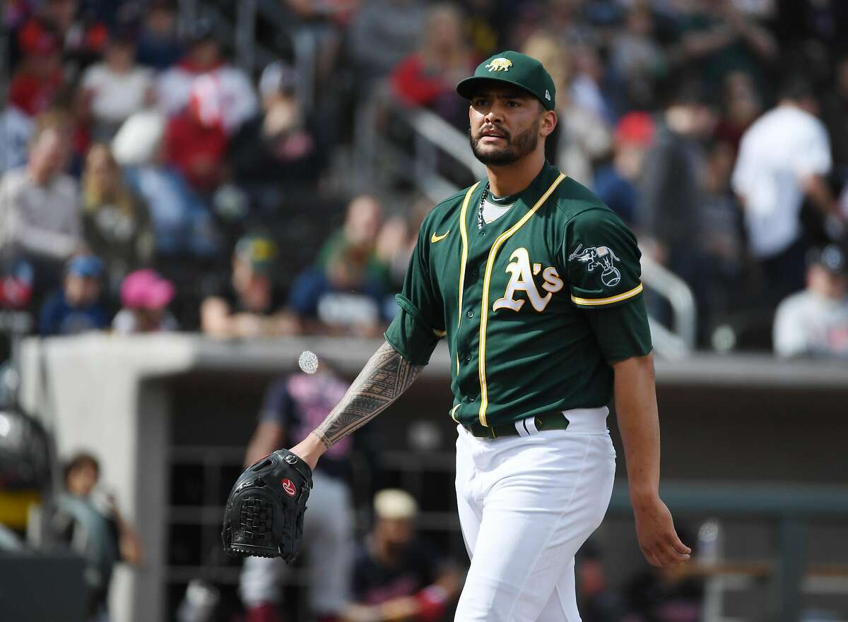 LAS VEGAS, NEVADA - FEBRUARY 29: Sean Manaea #55 of the Oakland Athletics walks off the mound as he pitches against the Cleveland Indians during their exhibition game at Las Vegas Ballpark on February 29, 2020 in Las Vegas, Nevada. The Athletics defeated the Indians 8-6. (Photo by Ethan Miller/Getty Images)