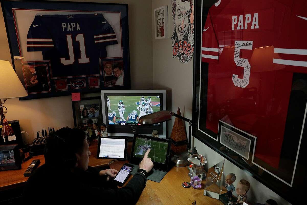 Sports talk radio host Greg Papa in his home studio where he broadcasts his show with co-host John Lund (in his own home) in Danville, Calif., on Wednesday, March 25, 2020. Papa has a weekday sports talk show on KNBR, and on Sunday calls the 49ers games. He is the first Bay Area broadcaster to call games for the 49ers, Raiders, Athletics, Giants and Warriors.