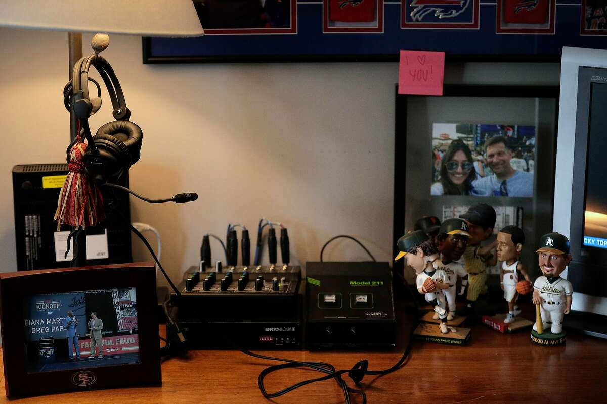 Sports talk radio host Greg Papa's in-home studio equipment where he broadcasts his show with co-host John Lund (in his own home) in Danville, Calif., on Wednesday, March 25, 2020. Papa has a weekday sports talk show on KNBR, and on Sunday calls the 49ers games. He is the first Bay Area broadcaster to call games for the 49ers, Raiders, Athletics, Giants and Warriors.