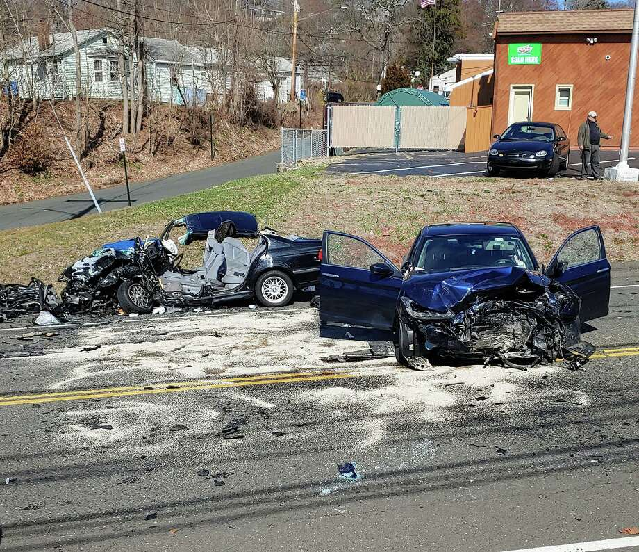 Shelton emergency crews responded to a two-vehicle, head-on collision on River Road Friday, March 27. Photo: Contributed Photo / Connecticut Post