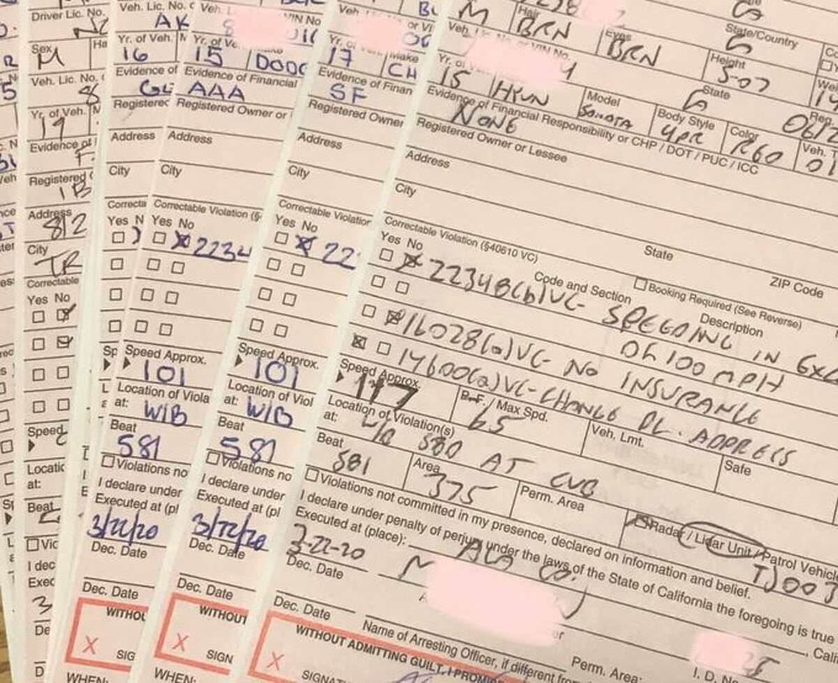 These are a few of the 100+ mph speeding citations issued by the CHP - Golden Gate Division recently.