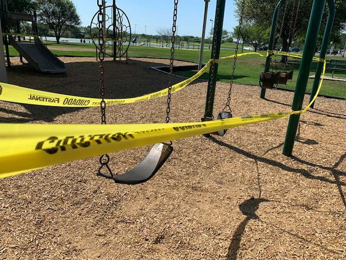 Heeding Harris County's stay-at-home order, the city of Pasadena closed off city playgrounds, exercise areas and basketball courts.