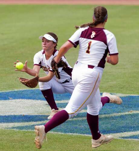 Deer Park center fielder Jasie Roberts (8) catches a fly ball on the run by Camryn Woodall #1 of Keller during the fifth inning of a Class 6A state semifinal game at the UIL State Softball Championships at Red and Charline McCombs Field, Friday, June 2, 2017, in Austin.