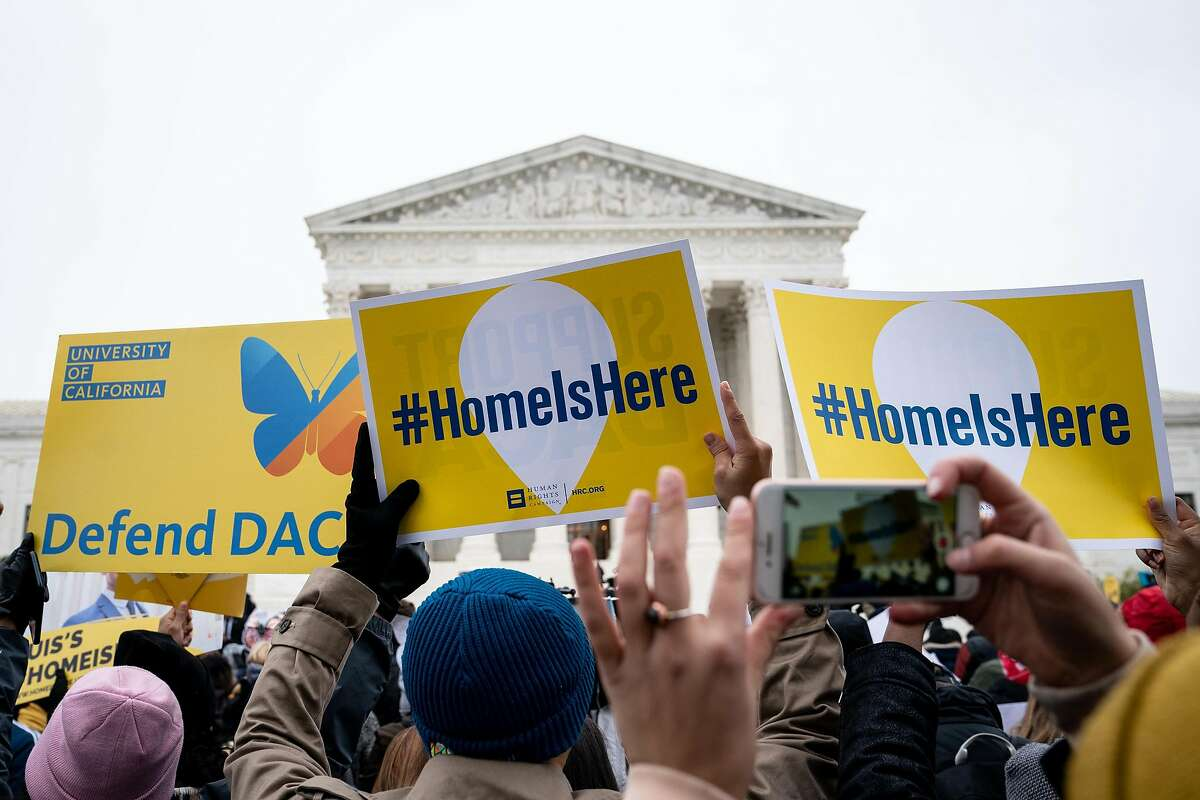 FILE -- A rally in support of the Deferred Action for Childhood Arrivals program, or DACA, outside the Supreme Court in Washington, Nov. 12, 2019. Jared Kushner, President Donald Trump's son-in-law and senior adviser, is trying to revive a broad overhaul of the nation's immigration system, anticipating that a looming Supreme Court ruling on the Obama-era program could give the nettlesome issue new life. (Erin Schaff/The New York Times)