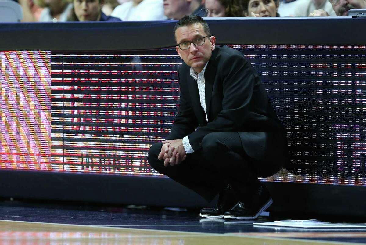Connecticut Sun coach Curt Miller looks on during a WNBA game against the Atlanta Dream in 2019.