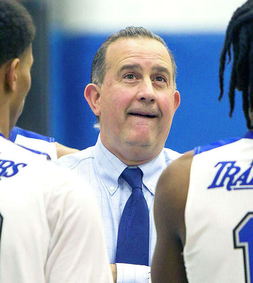 LCCC men's basketball coach Doug Stotler searches for answers. A second-half swoon, along with dealing with the onset of the coronavirus pandemic made the last three months 'interesting' according to Stotler, who is also the school's athletic director. Photo: Telegraph File Photo
