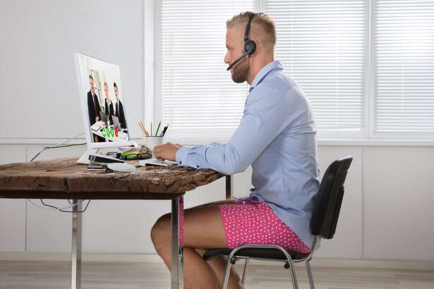 ...but stay comfy Gym sweats and leggings are great options for both bed and remote work. Remember, your coworkers won't see you from the waist down. This slideshow was first published on Stacker