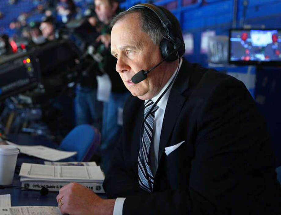 Blues announcer John Kelly tested positive for coronavirus and began self quarantine on March 13. A team spokesman said Kelly feeling strong and is symptom free. Photo: NHL Photo