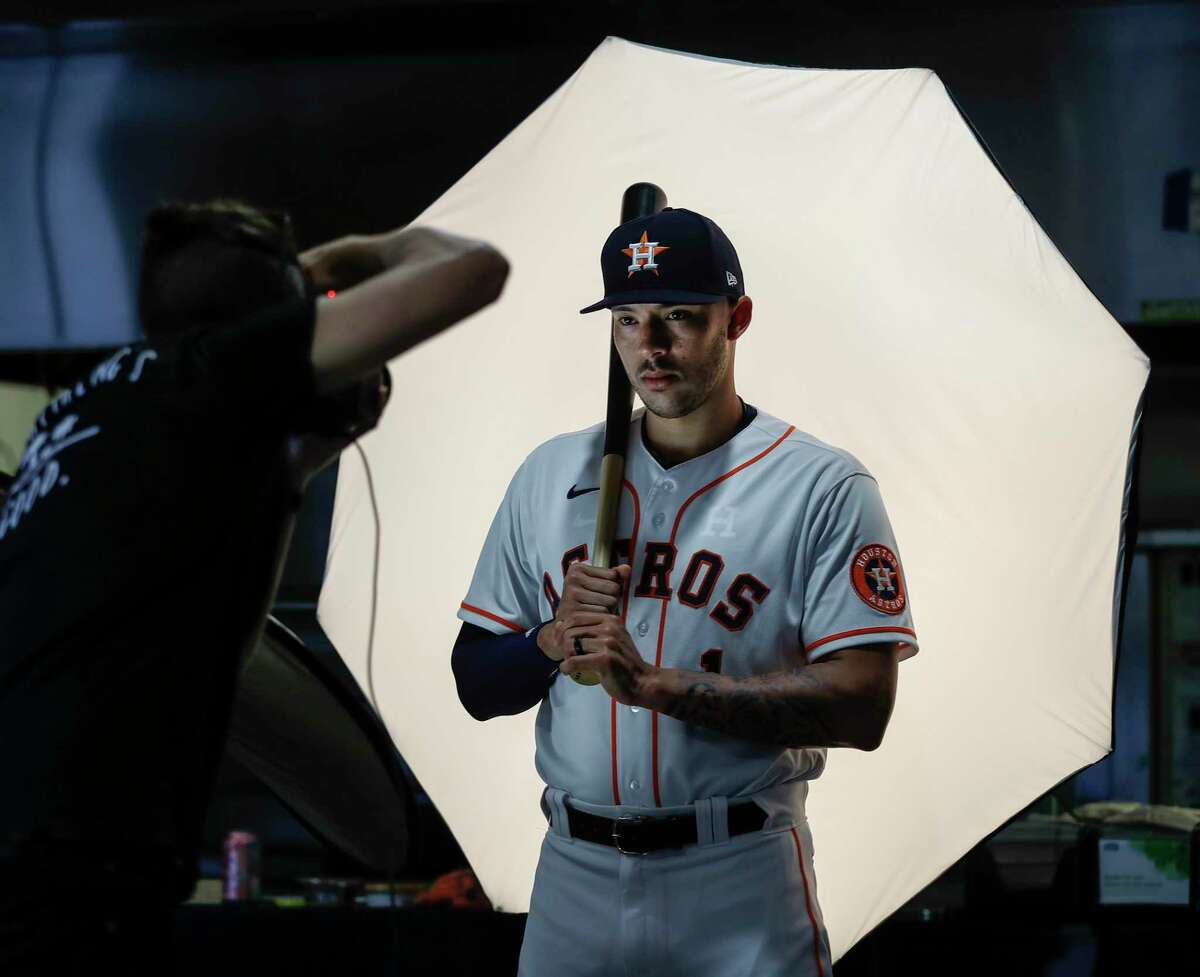 Carlos Correa, posing during the team's media day in February, has grown into the voice of the Astros when they need it most.