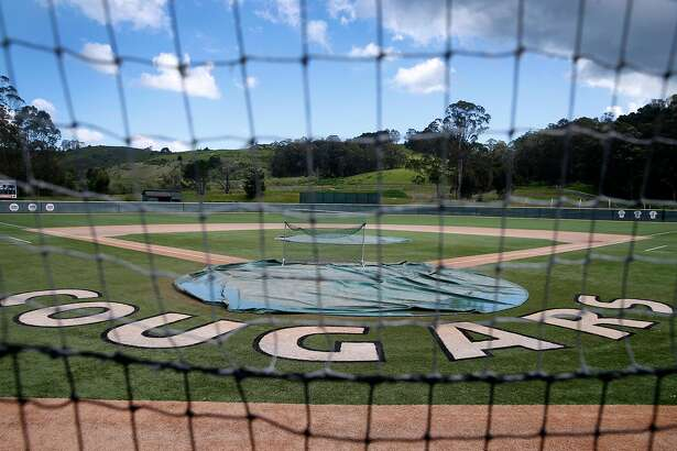 The baseball diamond is closed for the season at Half Moon Bay High School in Half Moon Bay, Calif. on Friday, March 20, 2020. The Cougars' 2020 season has been canceled due to the COVID-19 coronavirus pandemic.